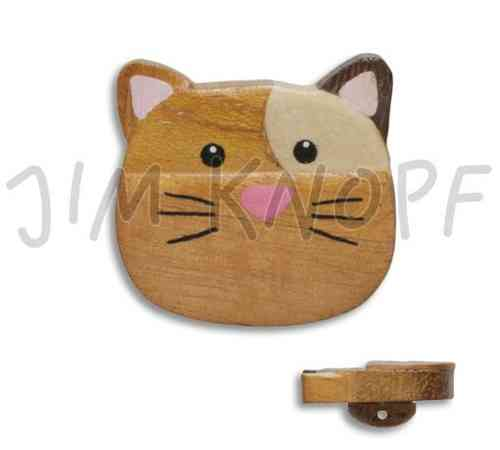 Jim Knopf bouton chat en bois grand