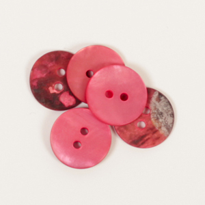 DROPS 605 bouton en nacre rond rouge 15mm