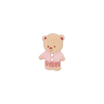 Bouton en plastique ourson rose